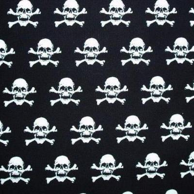 White Skulls Greyhound Bandana Fabric