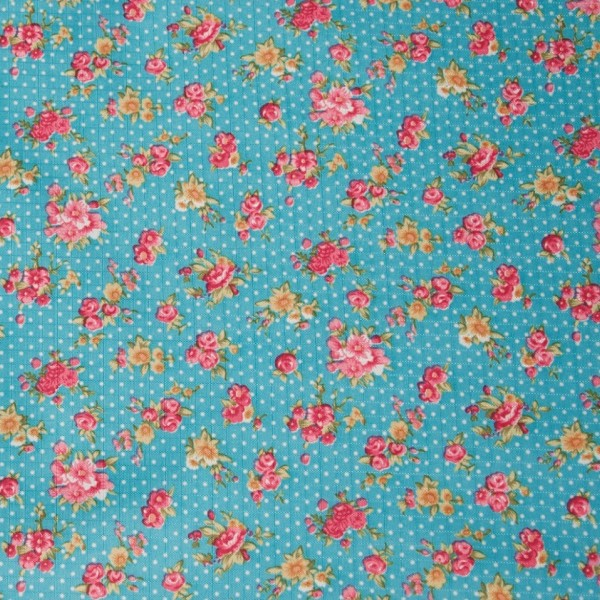 Turquoise Rose Fabric