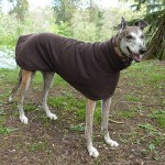 greyhound fleece coat in chocolate brown